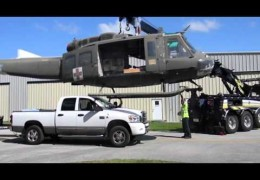Cross Country with two Hueys on Trailers